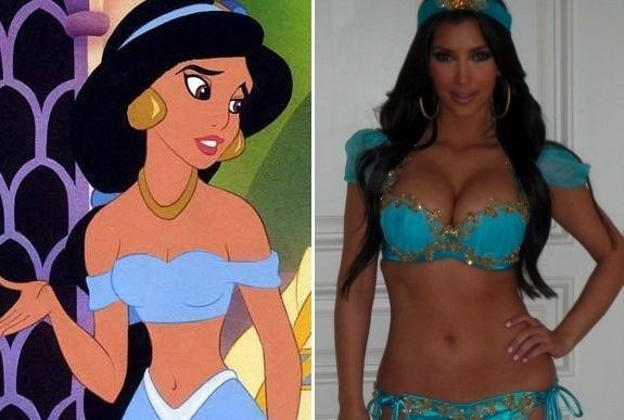 Celebs and Their Cartoon Look-A-Likes - Princess Jasmine & Kim Kardashian